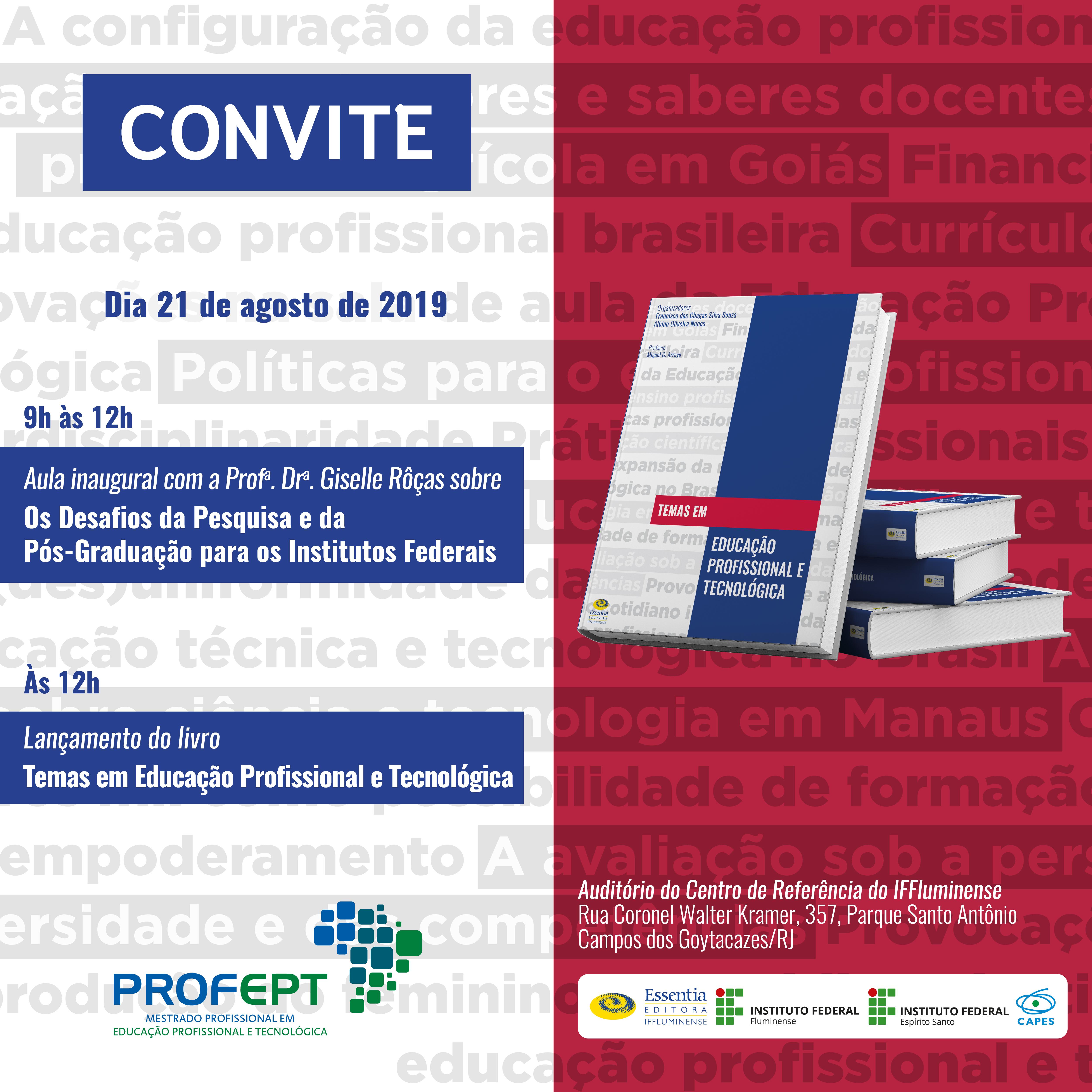 """21/08/19 - Lançamento do livro """"Temas em Educação Profissional e Tecnológica"""""""
