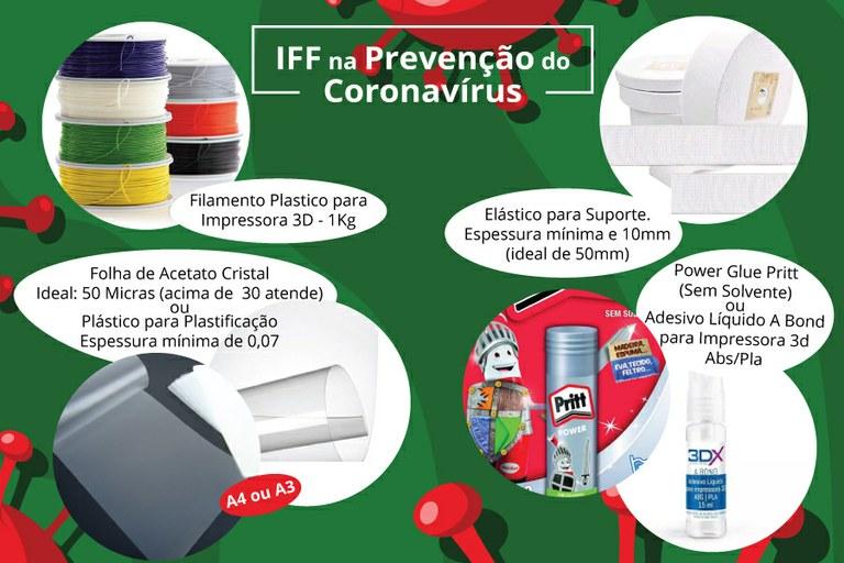 Lista dos materiais necessários para continuidade da produção de máscaras de proteção.
