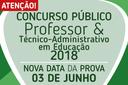 Provas do Concurso Público serão aplicada no próximo domingo, 03 de junho de 2018