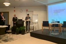 Jefferson Manhães durante apresentação na Semana Europeia de Habilidades Técnicas e Profissionais (European Vocational Skills Week, em inglês), em Helsinque, Finlândia.