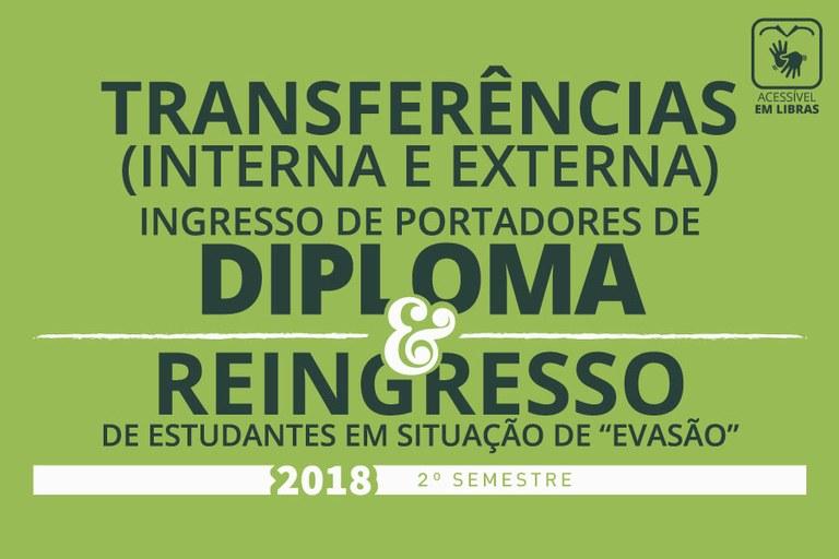 Resultado das seleções de Reingresso, Portadores de Diploma e Transferências
