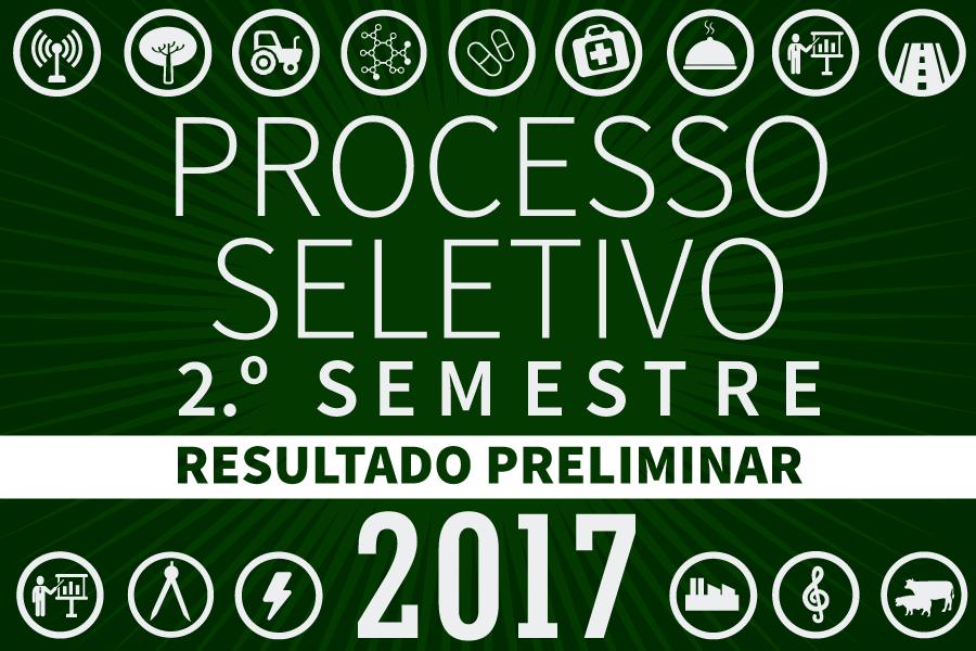 Resultado preliminar do Processo Seletivo 2017